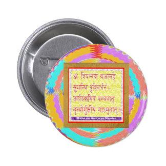 Mantra de MAHAMRITUNJAYA - amarillo de oro Pin Redondo De 2 Pulgadas