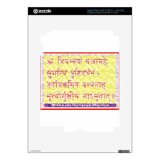 Mantra de MAHAMRITUNJAYA - amarillo de oro iPad 3 Pegatinas Skins