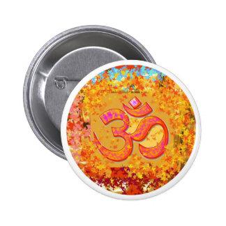 Mantra de NOVINO OM - esmero de Naveen Joshi Pin Redondo De 2 Pulgadas