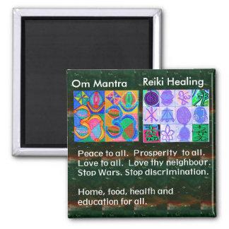 MANTRA de OmMantra - 12 muestras curativas de Imán Cuadrado