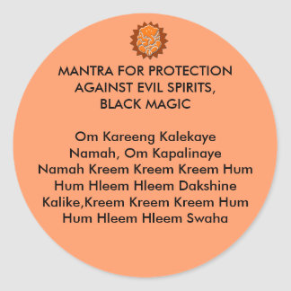 MANTRA FOR PROTECTION AGAINST EVIL SPIRITS, BLACK STICKERS