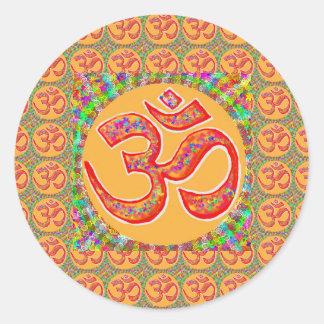 Mantra OmMantra: RobeColor santo verdadero Pegatina Redonda