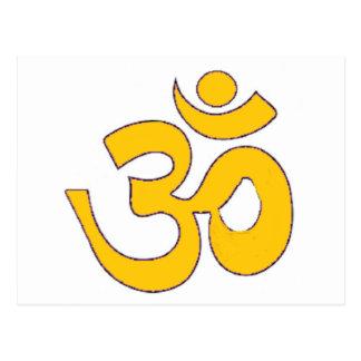mantra sánscrito del aum de OM del oro, símbolo, Tarjetas Postales