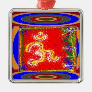 MANTRA Shakti: Passion Dedication Power Peace Square Metal Christmas Ornament