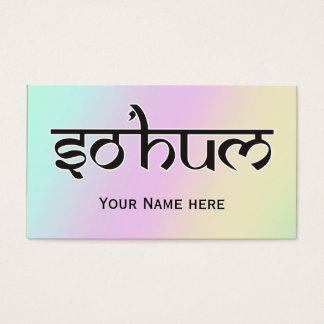 Mantra SO HUM - flat black & white contour Business Card