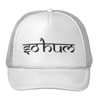 Mantra SO HUM - flat black & white contour Trucker Hat