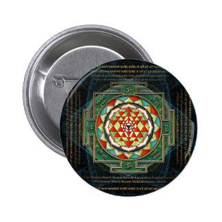 Mantra y Shri Yantra de Maha Lakshmi Pin Redondo De 2 Pulgadas