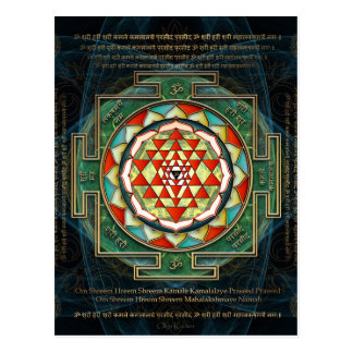 Mantra y Shri Yantra de Maha Lakshmi Tarjetas Postales