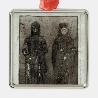Manuel I Comnenus  and Empress Maria of Antioch Metal Ornament