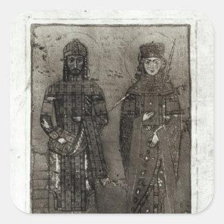 Manuel I Comnenus y emperatriz Maria de Antioch Pegatina Cuadrada