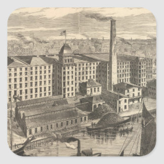 Manufactory of Clark's ONT Spool Cotton Square Sticker