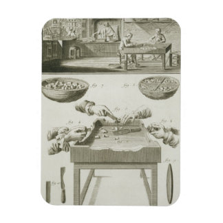 Manufacture of bottle corks, from the 'Encyclopedi Rectangular Photo Magnet