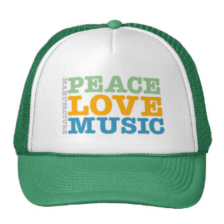 Manufacture Peace, Love, and Music Trucker Hat