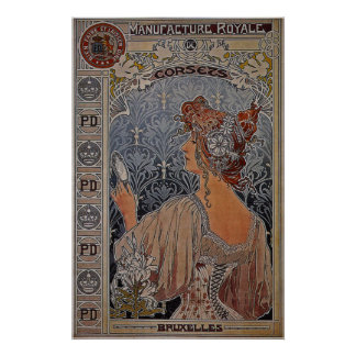 Manufacture Royale Corsets ~ Belgium ~ 1897 Poster