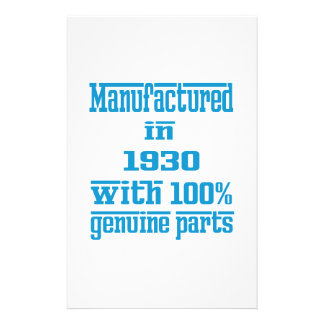 Manufactured in 1930 with 100% genuine parts stationery