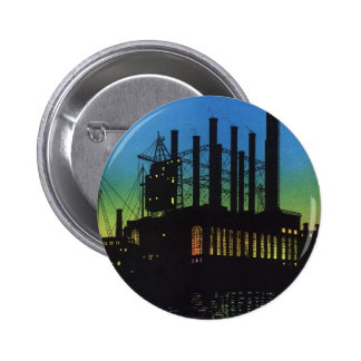 Manufacturing Factory at Sunset, Vintage Business Button