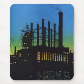 Manufacturing Factory at Sunset, Vintage Business Mouse Pad