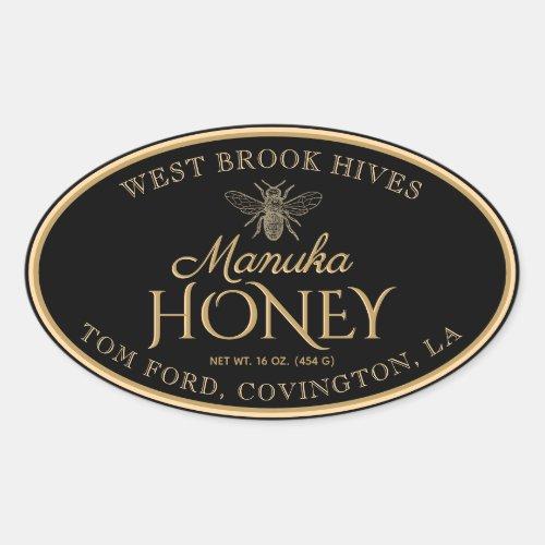 Manuka Honey Black Gold Vintage Bee Oval Label