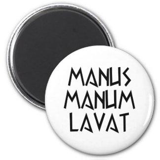 manus manum lavat 2 inch round magnet