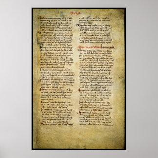 Manuscrito - canonjía de Westminster, Middlesex vi Póster