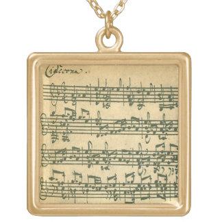 Manuscrito de Bach Chaconne para el violín a solas Colgante Cuadrado