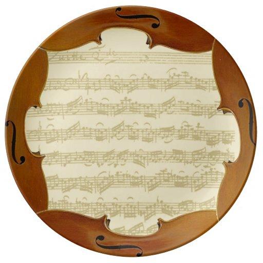 Manuscrito de la habitación del violoncelo de Bach Platos De Cerámica