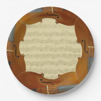 Manuscrito de la habitación del violoncelo de Bach Plato De Papel De 9 Pulgadas