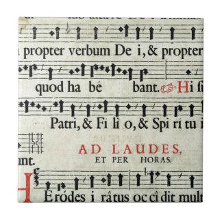 Manuscrito de la música azulejo cuadrado pequeño