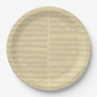 Manuscrito de la música de Bach, 2da habitación Plato De Papel De 9 Pulgadas