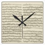 Manuscrito de la música de Bach, 2da habitación Reloj Cuadrado