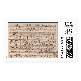 Manuscrito de la música de Brahms Franqueo