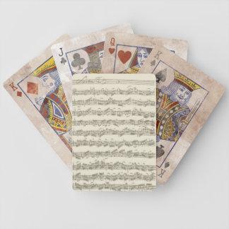 Manuscrito de la música de la habitación del barajas de cartas
