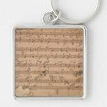 Manuscrito de la música de la sonata de Beethoven Llavero Cuadrado Plateado