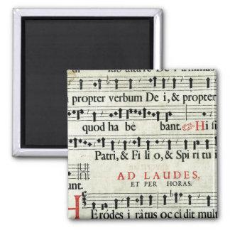 Manuscrito de la música imán cuadrado