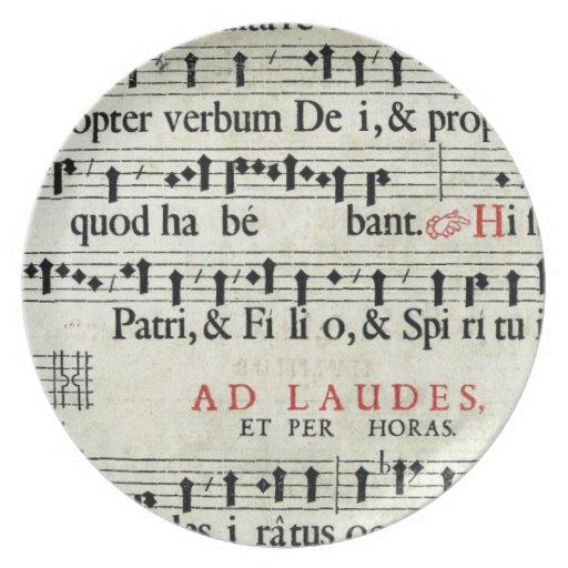 Manuscrito de la música plato para fiesta