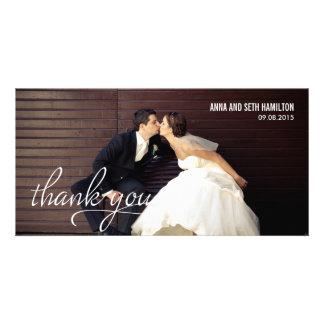 MANUSCRITO gracias las tarjetas - blanco Tarjetas Con Fotos Personalizadas