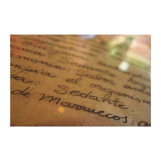 Manuscrito hecho a mano español #1 impresión de lienzo