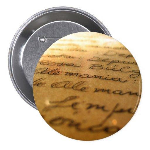 Manuscrito hecho a mano español #2 pin redondo 7 cm
