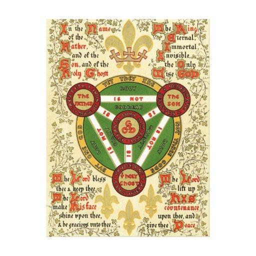 Manuscrito iluminado de la trinidad santa impresión en lona estirada