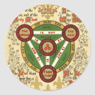 Manuscrito iluminado de la trinidad santa pegatina redonda