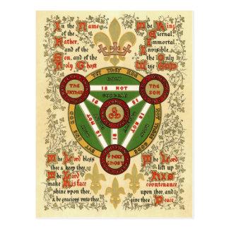 Manuscrito iluminado de la trinidad santa postales