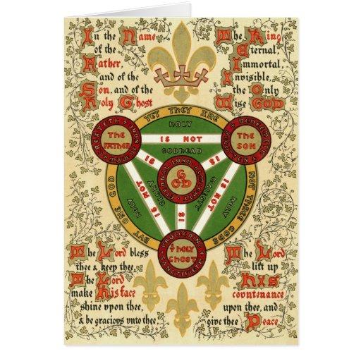 Manuscrito iluminado de la trinidad santa tarjeton