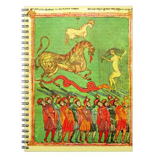 Manuscrito iluminado del español como cubierta del notebook
