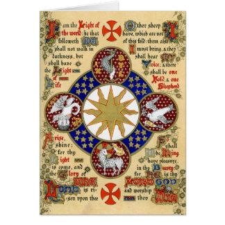 Manuscrito iluminado la epifanía tarjeta de felicitación