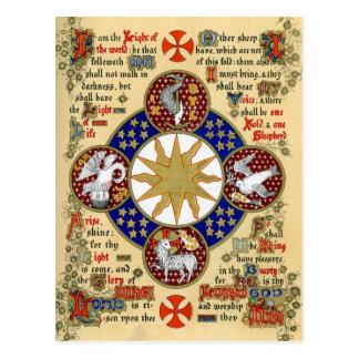 Manuscrito iluminado la epifanía postal