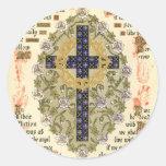 Manuscrito iluminado para la septuagésima y etiquetas redondas