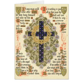 Manuscrito iluminado para la septuagésima y presta felicitación