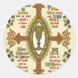 Manuscrito iluminado para Pascua Pegatina Redonda