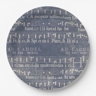 Manuscrito medieval de la música azul marino y plato de papel de 9 pulgadas