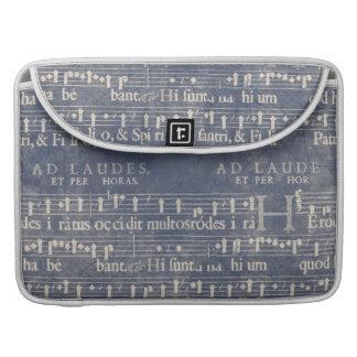 Manuscrito medieval de la música, blanco en azul m fundas macbook pro